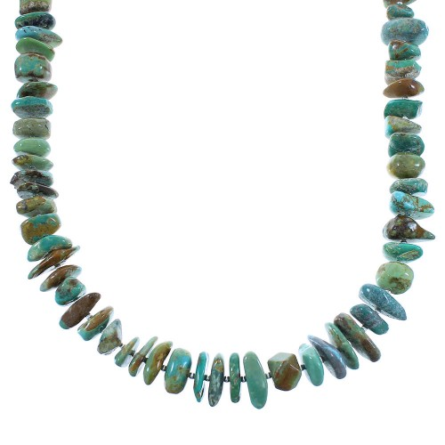 Turquoise Native American Authentic Sterling Silver Bead Necklace AX100323