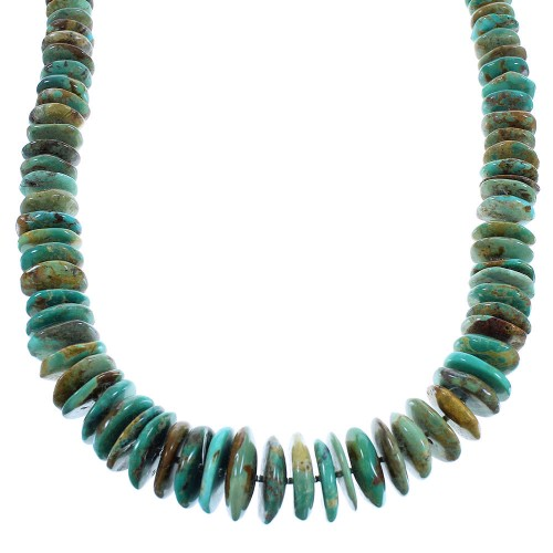 Kingman Turquoise Native American Sterling Silver Bead Necklace AX100324
