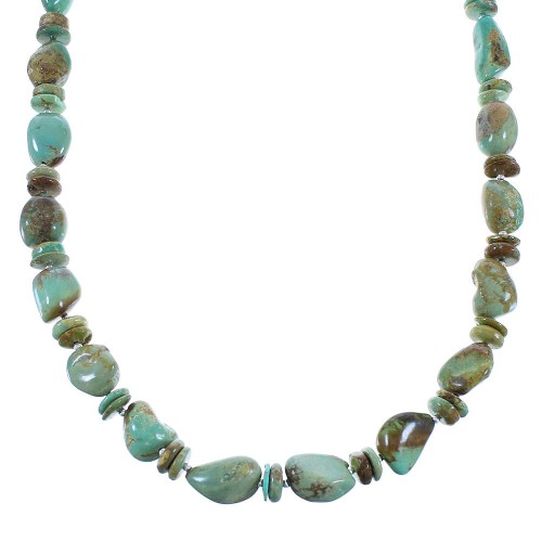 Kingman Turquoise Sterling Silver American Indian Bead Necklace AX100330