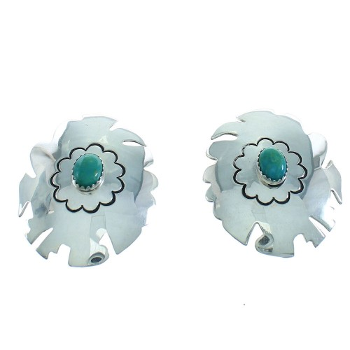 American Indian Tommy And Rose Singer Sterling Silver Turquoise Post Earrings RX100959