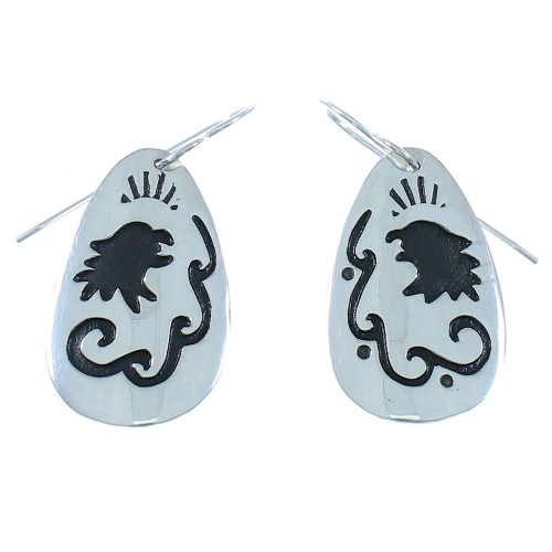 Sterling Silver Tommy And Rose Singer Eagle and Water Wave Navajo Hook Dangle Earrings AX101109