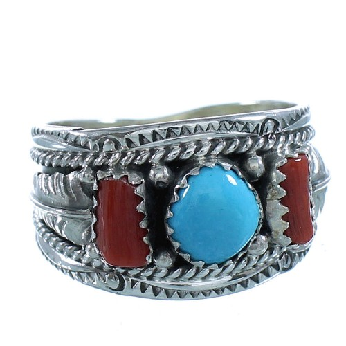 Sterling Silver Leaf Navajo Turquoise And Coral Ring Size 11-3/4 AX101403