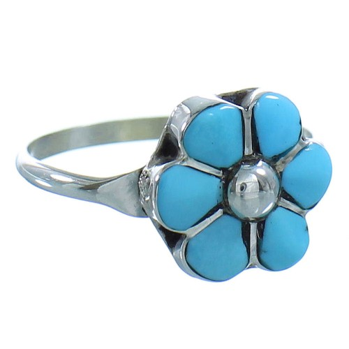 Turquoise Zuni Genuine Sterling Silver Flower Ring Size 5 AX101440