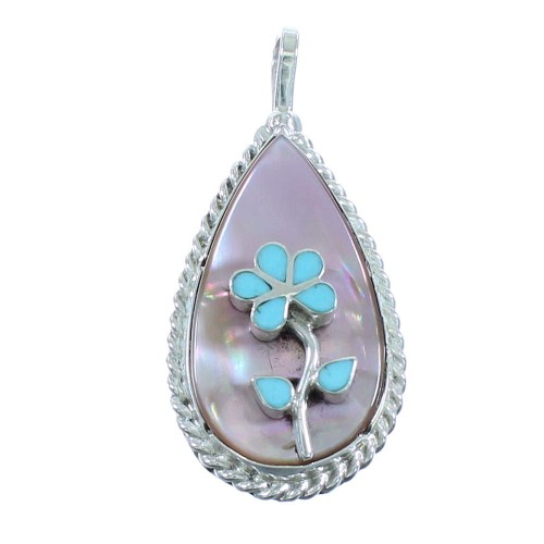 Turquoise And Pink Shell Zuni Sterling Silver Flower Pendant AX101869