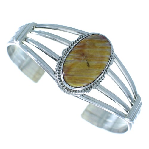 Sterling Silver Oyster Shell Navajo Cuff Bracelet AX101779
