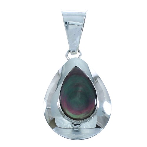 Black Mother Of Pearl Sterling Silver Tear Drop Slide Pendant AX102149