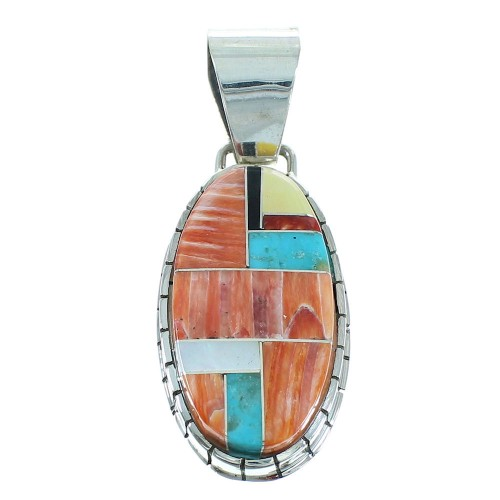 Native American Genuine Sterling Silver Multicolor Inlay Ray Jack Pendant RX102271
