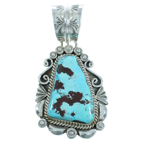 Turquoise Navajo Authentic Sterling Silver Pendant AX102292