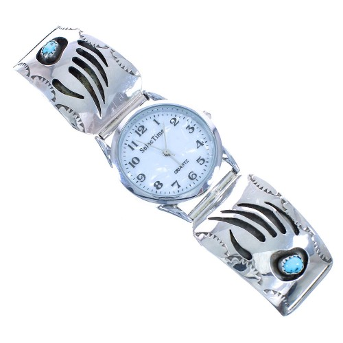 Turquoise Genuine Sterling Silver Navajo Bear Paw Watch AX102400
