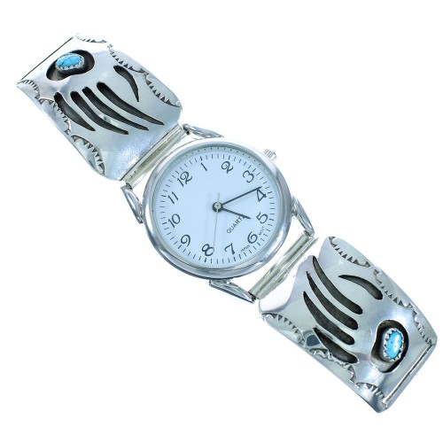 Turquoise Silver Navajo Bear Paw Watch AX102402