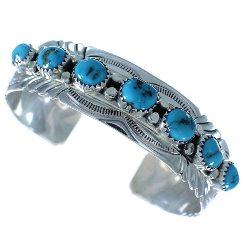 Turquoise American Indian Genuine Sterling Silver Cuff Bracelet AX102489
