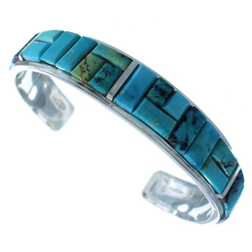 Turquoise Inlay Navajo Genuine Sterling Silver Cuff Bracelet AX102499