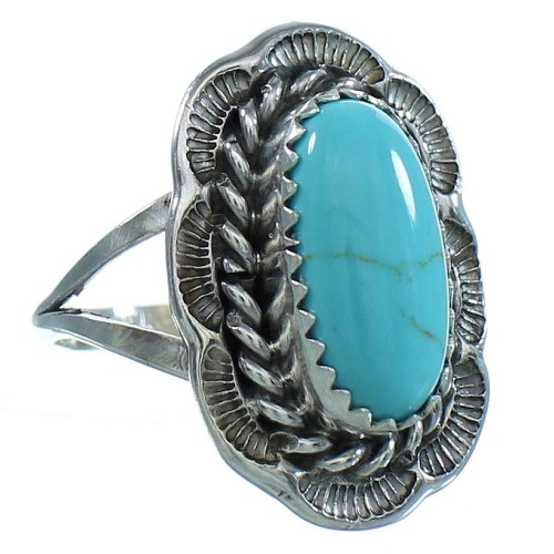 Genuine Sterling Silver Native American Turquoise Ring Size 8-3/4 AX102530