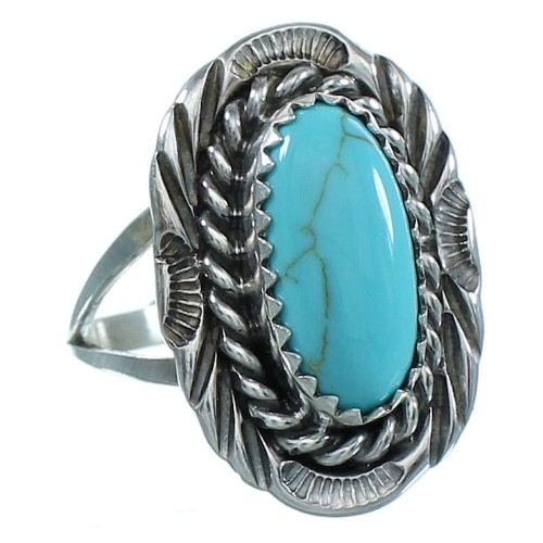Navajo Silver Turquoise Ring Size 5-3/4 AX102538
