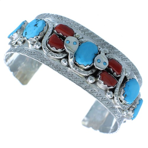 Turquoise And Coral Zuni Silver Effie Calavaza Snake Bracelet AX102696