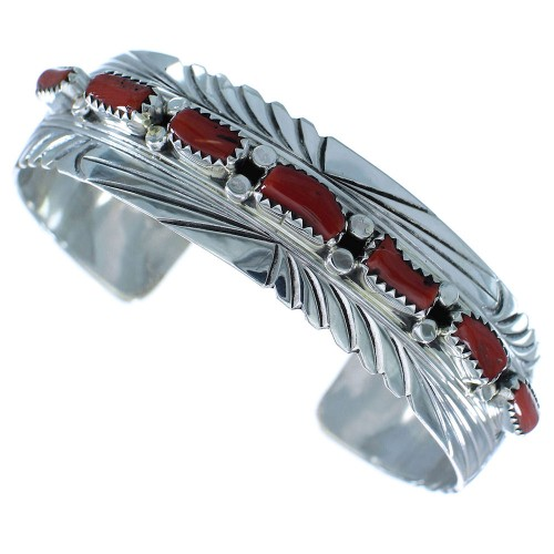 Navajo Sterling Silver And Coral Cuff Bracelet RX102773