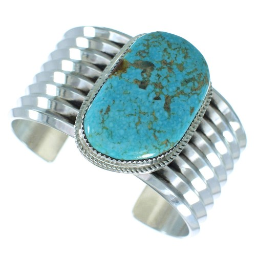 Sterling Silver Native American Turquoise Jewelry Cuff Bracelet RX103451