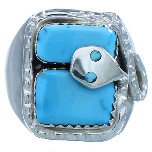 Sterling Silver Turquoise Effie Calavaza Zuni Snake Ring Size 8-3/4 AX102747