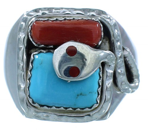 Turquoise And Coral Zuni Sterling Silver Effie Calavaza Snake Ring Size 10-1/4 AX102753
