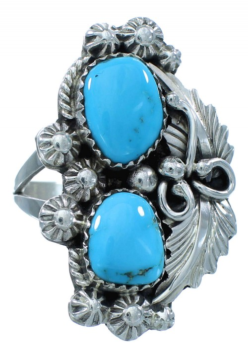 Navajo Turquoise Authentic Sterling Silver Leaf Ring Size 9 AX102795