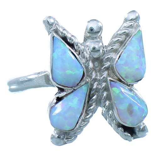 Genuine Sterling Silver Opal Zuni Butterfly Ring Size 6-1/4 AX102824