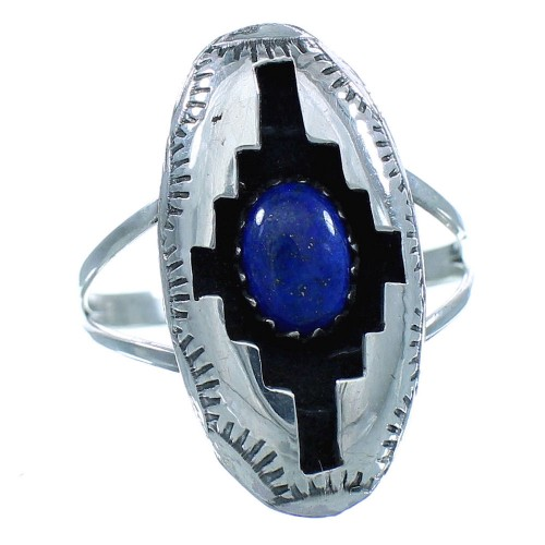 American Indian Genuine Sterling Silver Navajo Lapis Ring Size 5-3/4 TX103037
