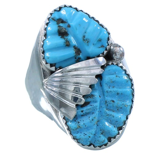 Turquoise Genuine Sterling Silver Zuni Ring Size 11 TX103049