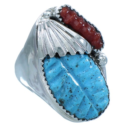 Native American Turquoise Coral Sterling Silver Zuni Ring Size 10-3/4 TX103058