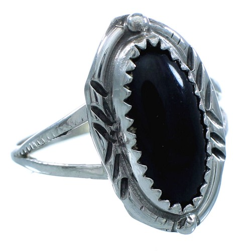 Onyx Sterling Silver Native American Ring Size 8 TX102869