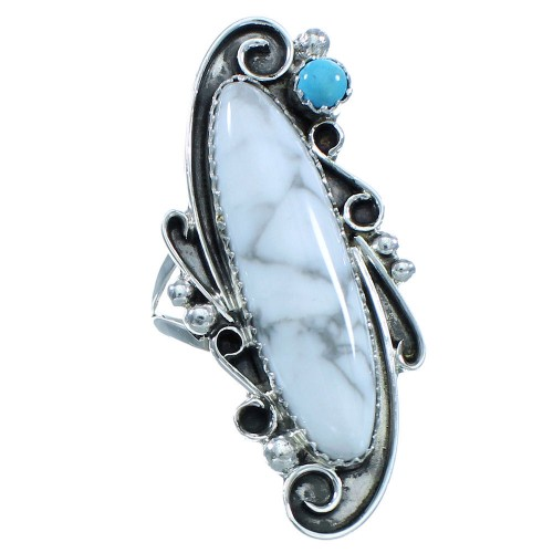 Genuine Sterling Silver Navajo Howlite Turquoise Ring Size 6-1/2 TX102919