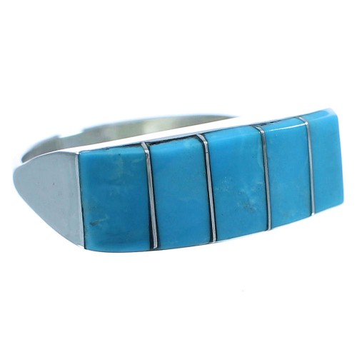 Native American Sterling Silver Zuni Turquoise Ring Size 7-1/4 TX103117
