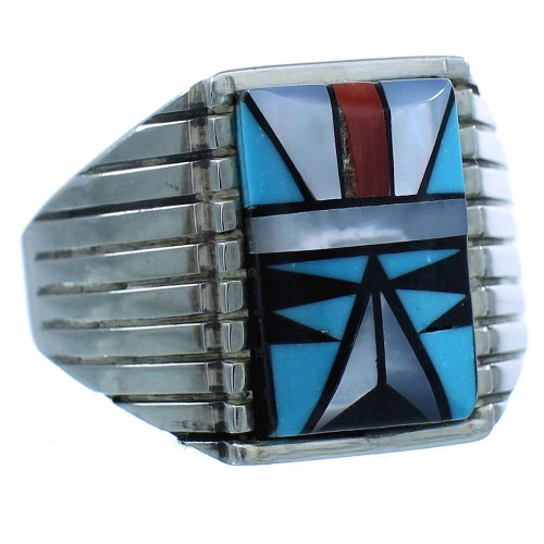 Amierican Indian Genuine Sterling Silver Multicolor Navajo Ring Size 11-3/4 TX103175