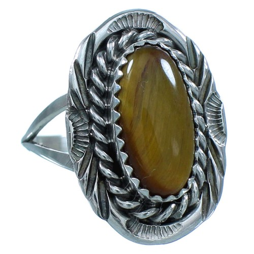 American Indian Tiger Eye And Sterling Silver Navajo Ring Size 7-3/4 TX103488