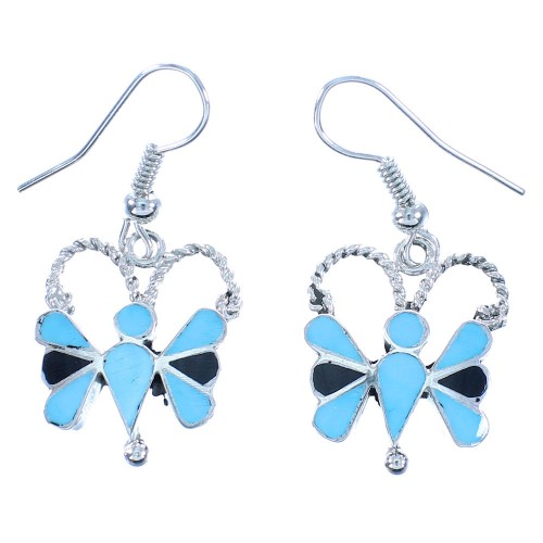 Genuine Sterling Silver Turquoise and Jet Zuni Butterfly Hook Dangle Earrings TX103360