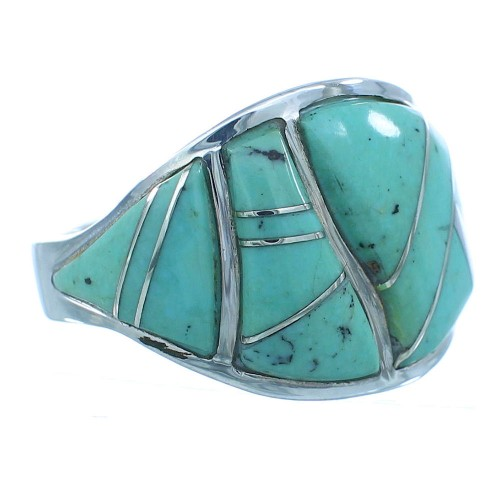 Southwest Turquoise And Silver Jewelry Ring Size 7-3/4 YS68775