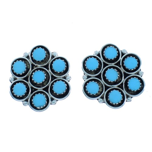 Native American Zuni Turquoise Sterling Silver Post Earrings TX102981