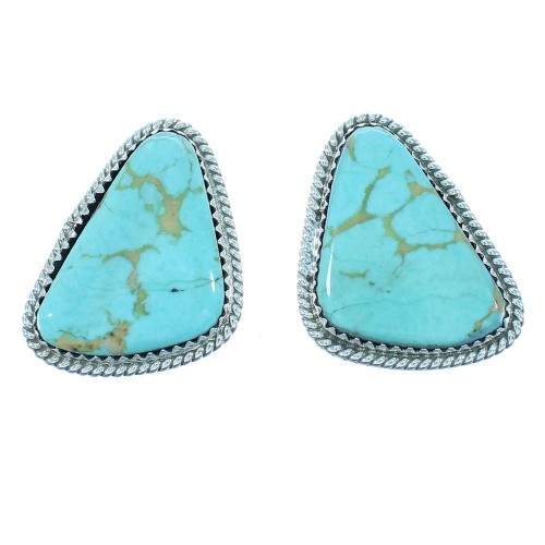 Navajo Indian Sterling Silver Turquoise Post Earrings RX103328