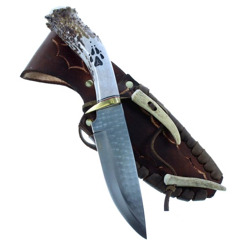 "Ken Richardson Bear Paw Hand Crafted Drop Point 11"" Hunting Knife NX103378"