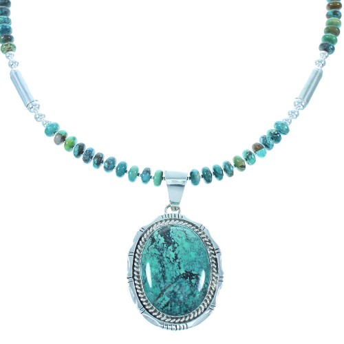 Navajo Sterling Silver Turquoise Bead Necklace Set RX103501