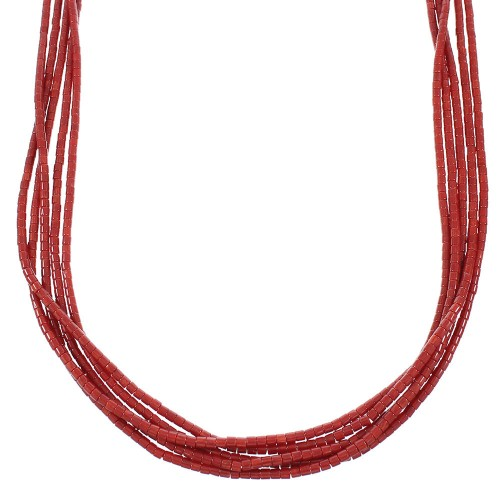 Authentic Sterling Silver American Indian Coral 5-Strand Navajo Bead Necklace TX103938