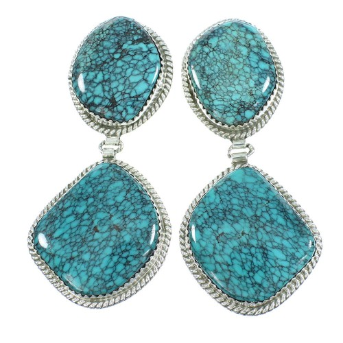American Indian Sterling Silver Turquoise Post Dangle Navajo Earrings TX103944