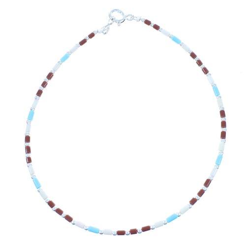 Multicolor Sterling Silver Bead Anklet TX103965