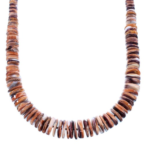 Sterling Silver Purple And Orange Oyster Shell Navajo Bead Necklace SX104035
