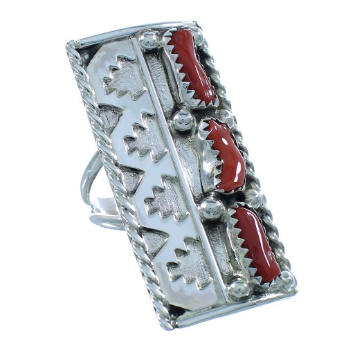 Navajo Coral Sterling Silver Ring Size 6-1/2 TX104110