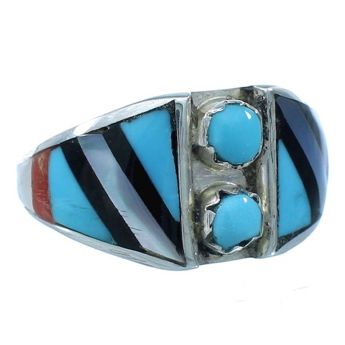 Authentic Sterling Silver Multicolor Zuni Ring Size 5-3/4 TX104125