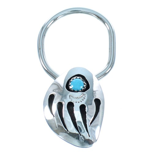 Navajo Bear Paw Turquoise Sterling Silver Key Chain TX104222