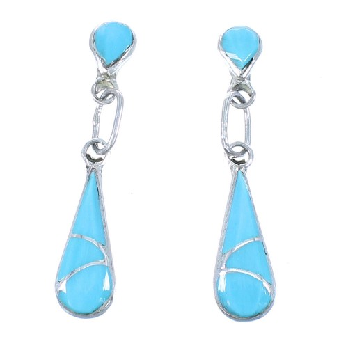 Zuni Turquoise And Sterling Silver Post Dangle Earrings TX104301