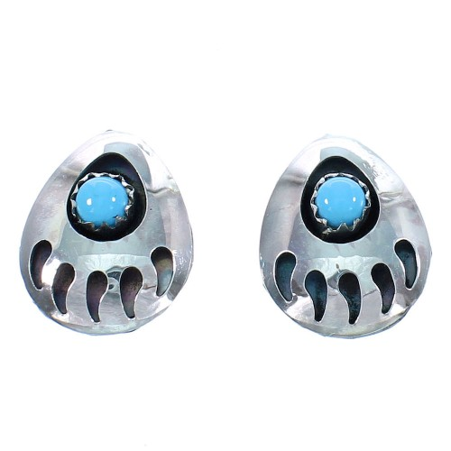 Sterling Silver Turquosie Bear Paw Navajo Post Earrings SX104363