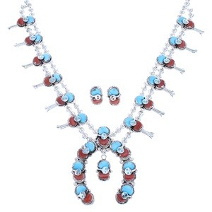 Zuni Turquoise And Coral Effie Calavaza Snake Squash Blossom Necklace Set SX104815