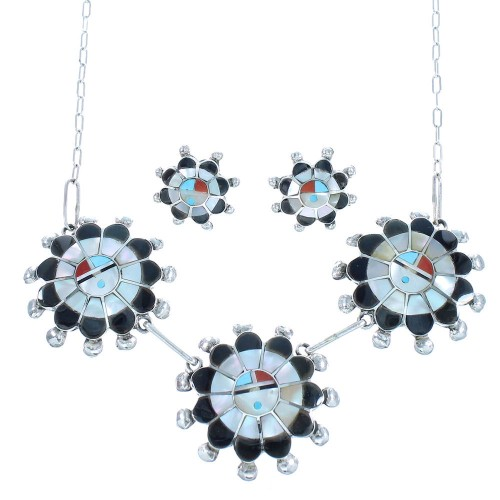 Sterling Silver Mulitcolor Sun Zuni Link Necklace Set TX104725